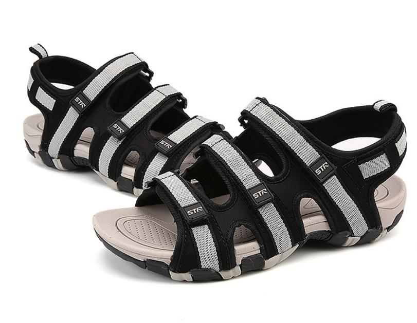 Summer Men Sandals Hook&loop Men's Summer Shoes 2018 Fashion Waterproof Casual Beach Shoes Size:39-44 Black 4