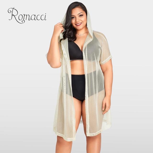 beb4773de3 Sexy Women's Swimsuits 2019 Fishnet Hollow Out Hooded Kimono Cardigan Plus  Size Beach Wear Tunic Pareo