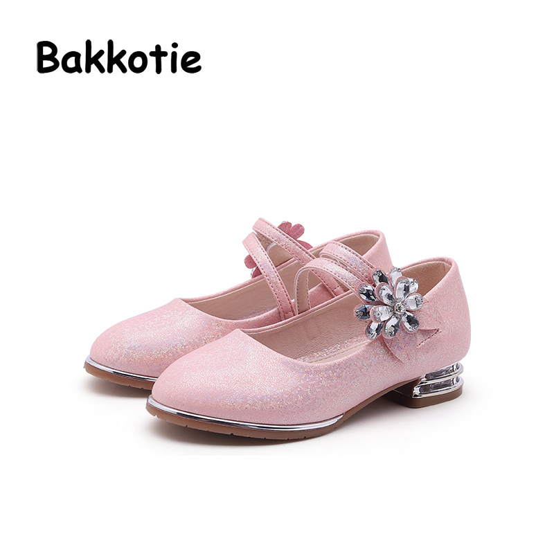 Bakkotie 2018 Spring New Fashion Baby Girl Pu Leather Flower Shoe Children Princess Rhinestone Flat Kid Party Brand Mary Jane