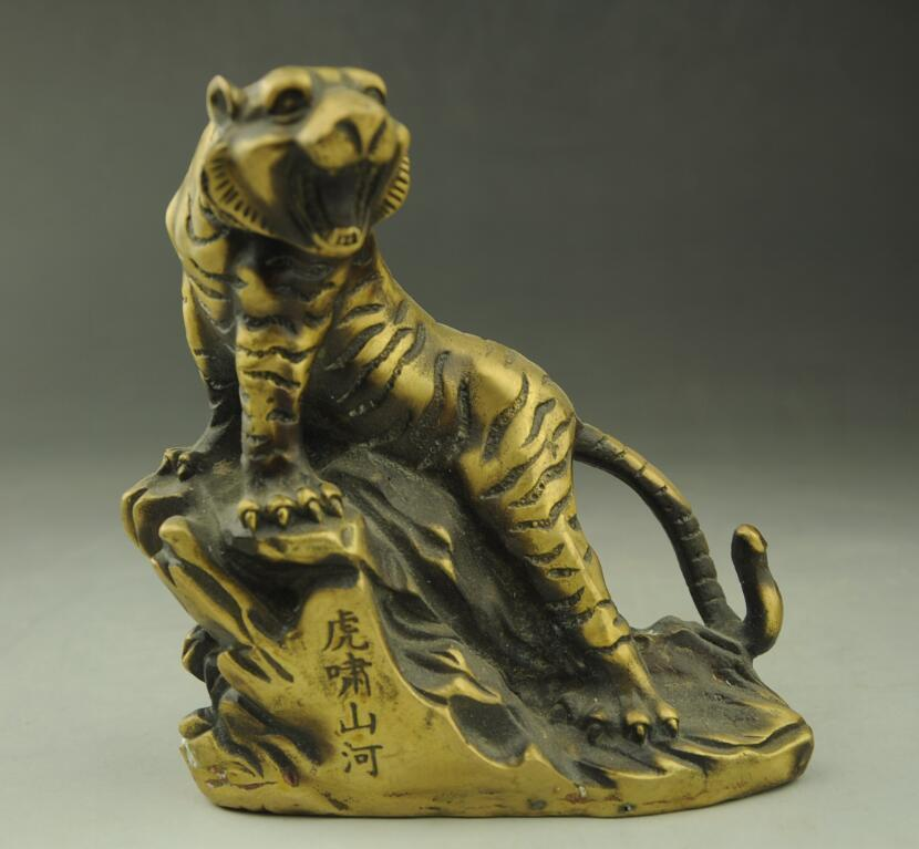 Chinese Collect Old Brass Animal Zodiac Year Tiger Ferocious Statue SculptureChinese Collect Old Brass Animal Zodiac Year Tiger Ferocious Statue Sculpture