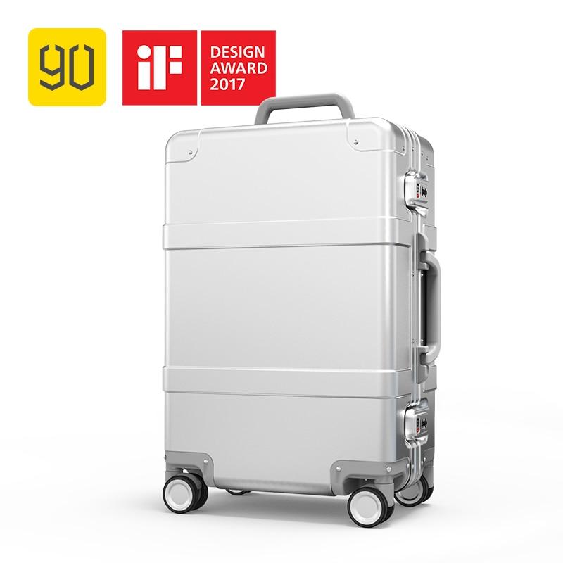 Xiaomi 90FUN Intelligente Métal Valise En Alliage D'aluminium Bagages Bagages de ceinture de taille TSA Déverrouiller Argent 20 Pouces pour homme femme