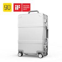 Xiaomi 90FUN Intelligent Metal Suitcase Aluminum Alloy Luggage Carry on Spinner wheel TSA Unlock Silver 20 Inch for men women