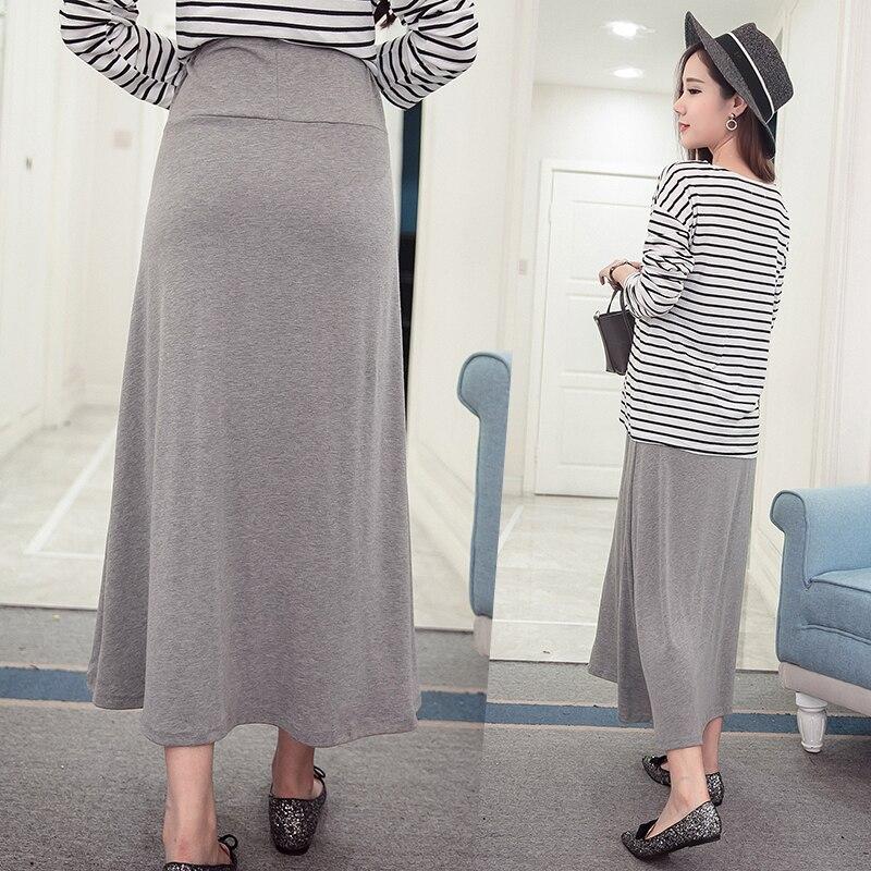 Goaryunve/ Горячая стильная Весенняя Новинка, высокая талия, живот, чистый цвет, длина по щиколотку, юбка для беременных женщин, хлопковые юбки