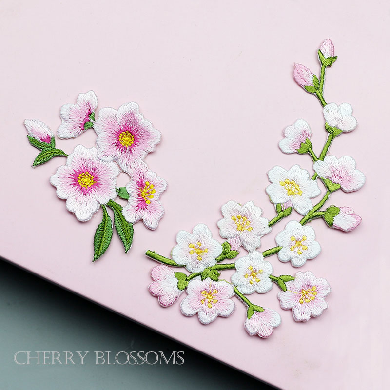 1pcs Quince Sakura Flower Embroidery Iron On Applique Patch Light Pink