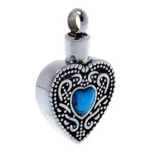 Stainless Steel Blue Turquoise Heart Urn Keepsake