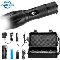 Lampe de poche LED Ultra lumineux lampes de poche T6/L2/V6 Camping lumière 5 Modes 10000 Lumens Zoomable vélo lumière par 18650 batterie
