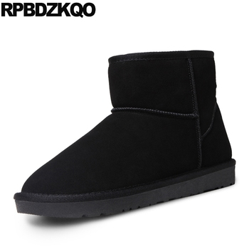 Winter Men Boots With Fur Blue Shoes Cheap Booties Snowboot Platform 2017 Ankle Snow Suede Fashion Male Comfortable High Top