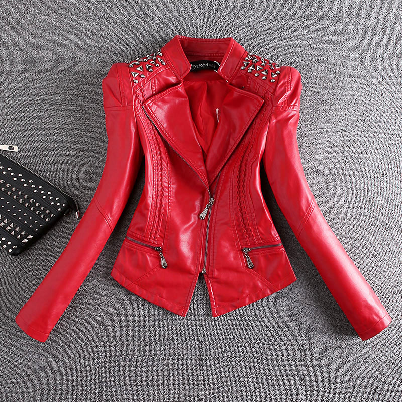 2018 New Fashion Red Motorcycle   Leather   Jacket Women Rivet Zippers Biker   Leather   Coat Plus Size S-3XL   Suede   Outerwear