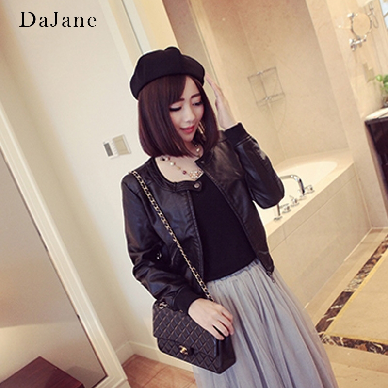 Plus Cotton Ladies Loose   Leather   Jacket Round Neck Korean Short Paragraph Women Big Size   Leather   Jacket Fat 5XL