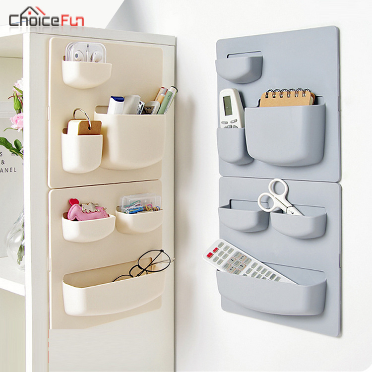 CHOICEFUN Plastic kitchen Tools Storage Organizers Adhesive Cabinet Door Wall Shelf Kitchen Supply Accessory Kitchen Organizer