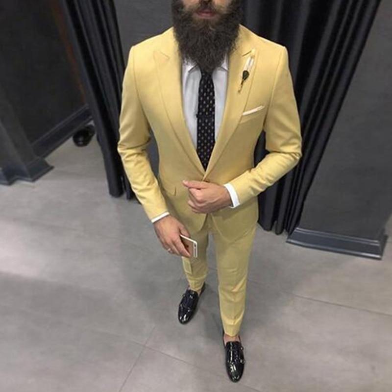 Slim Fit Yellow Men Suits 2019 Wedding Groom Tuxedos Bridegroom Set 2 Pcs(Jacket+Pants) Best Man Prom Wear Blazer Costume Homme