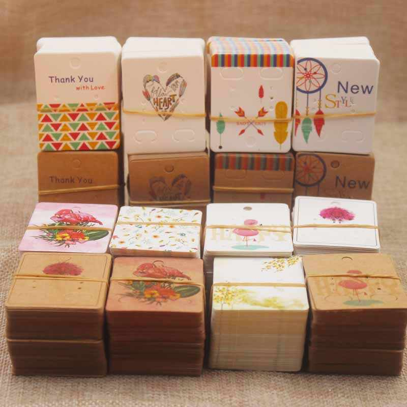 50pc/lot5x4cm new arrival flower series stud earring package card Dreamcatcher pattern earring tag card heart style earring card