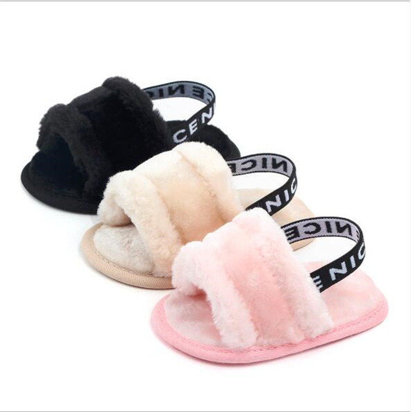 New Baby Shoes Fashion Faux Fur Infants First Walkers Summer Newborn Soft Sole Shoes