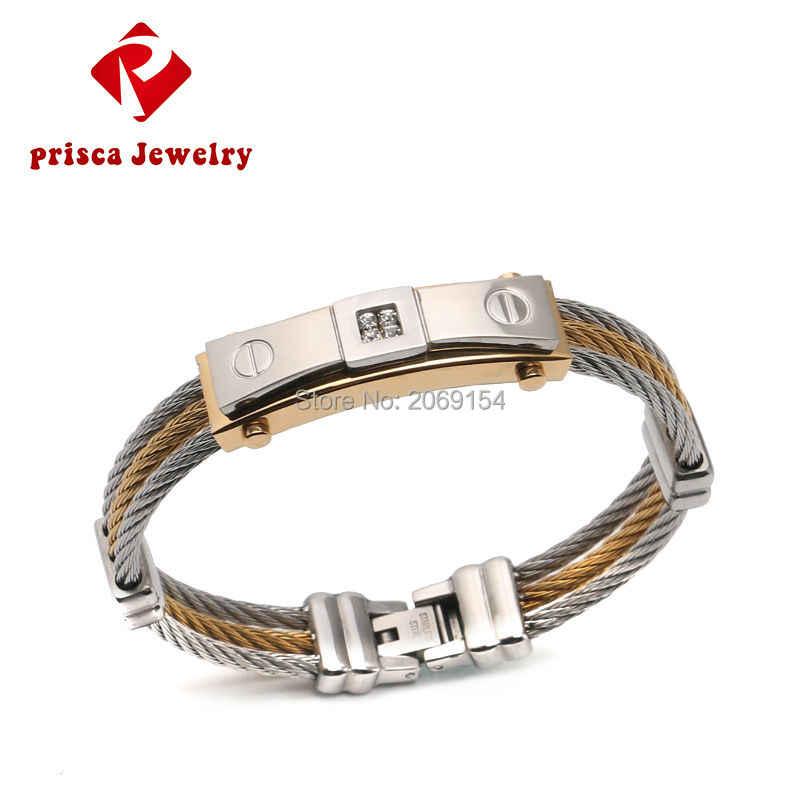 Charm Vintage Bracelet  Jewelry Pattern New Gold Bracelet Men Stainless Steel Wire Bracelet Silver Chain Link Trendy Bangle