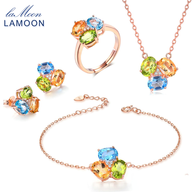 LAMOON 100% 925 Sterling Silver 4pcs Jewelry Sets For Women 3pcs Oval Gemstone Topaz Citrine Peridot Anniversary Jewelry V003-1
