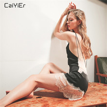 Caiyier Sexy Lingerie Nightgown Lace V-Neck Nightdress Silk Satin Ladie Sleepwear Sheer Cross Back Nightwear Summer Homewer