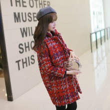 2015 winter new arrival women plaid coats oversize outwear long wool blends thicken cotton padded warm red green casual out034