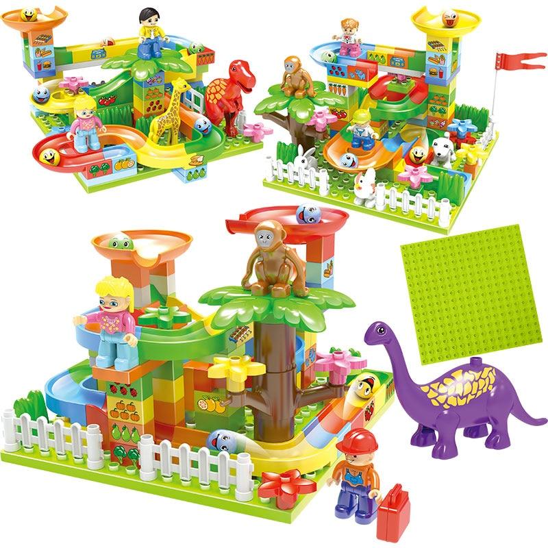 New Big Size Maze Ball Track Compatible Legoed Duploed Jurassic Dinosaur Building Blocks Plastic Funnel Slide Bricks Kids Toys