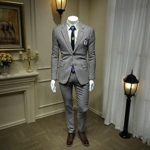 Мужской костюм с гусиной лапой, белый и черный блейзер из двух предметов, модель 365tz39