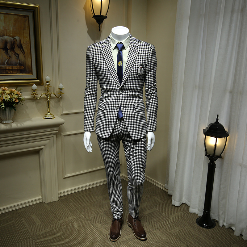 XM GEEKI Men Wedding Suit Jackets Spring Blazers Slim Mans Two Pieces Suits Male Houndstooth White And Black Street Suit 365tz39