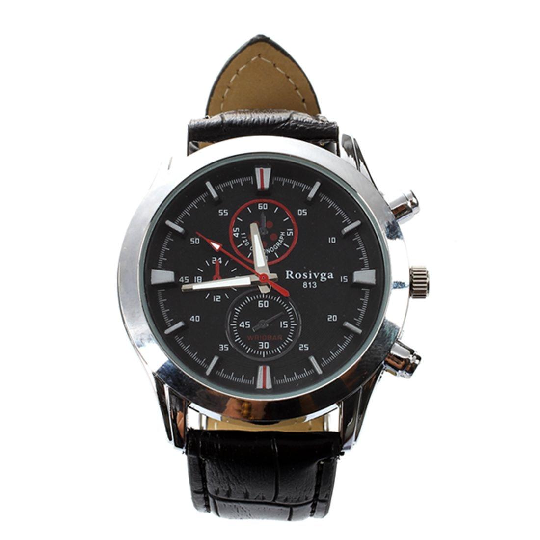 ROSIVGA three eyed Racing Cool Leather belt quartz Wrist WatchROSIVGA three eyed Racing Cool Leather belt quartz Wrist Watch