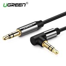 Ugreen audio jack 3.5 мм aux кабеля мужчина к мужчине 90 градусов правый угол круглый аудио кабель для наушников mp3/4