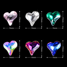 10pcs/pack Symphony AB Love Heart Design 3D Nail Decorations Sharp End Shiny Crystal Rhinestones Art Gold Bling