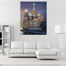 40X50CM Castle Oil Painting By Numbers Petersburg Church Drawing Canvas Handpainted Modern Wall Art DIY Home Decor 2017
