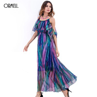 ORMELL 2017 New Summer Women Long Beach Dress Lady Fashion Girl Off The Shoulder Sexy Spaghetti