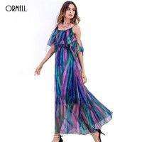 ORMELL 2017 New Summer Women Long Beach Dress Lady Fashion Girl Off The Shoulder Sexy Spaghetti