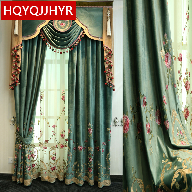 Green luxury villa high quality velvet embroidered curtains for living room Voile Curtain for Bedroom Window Treatment Drapes