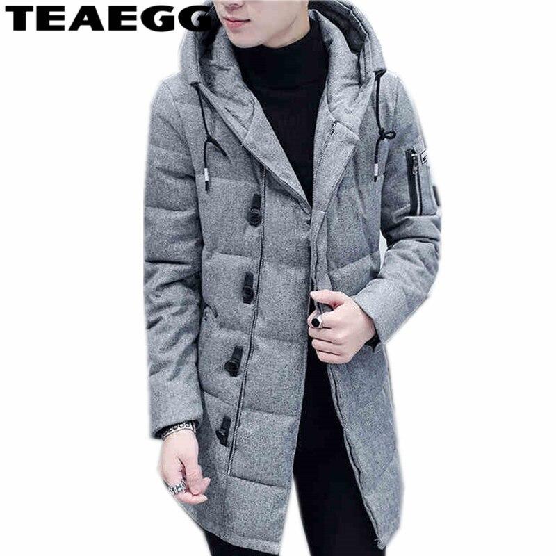 Teaegg с капюшоном хлопка-ватник Для мужчин зимняя куртка 2017 теплый Для мужчин S зимняя куртка Пальто Верхняя одежда; парка Homme Plus Размеры 3XL ...