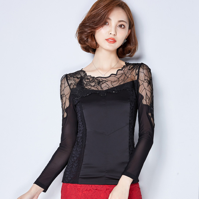 2b7365d97ff21 New autumn fashion women sexy o neck long sleeve tops ladies mesh silk lace  shirts patchwork elegant top casual slim blouse A948