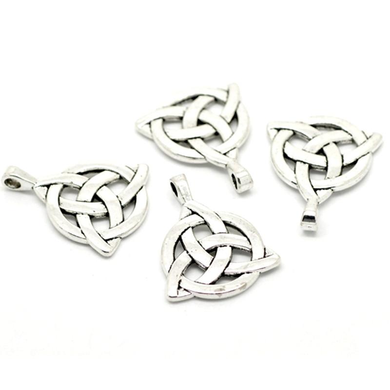 10Pcs Silver Tone Hollow Celtic Knot Metal Pendants Fit For ...
