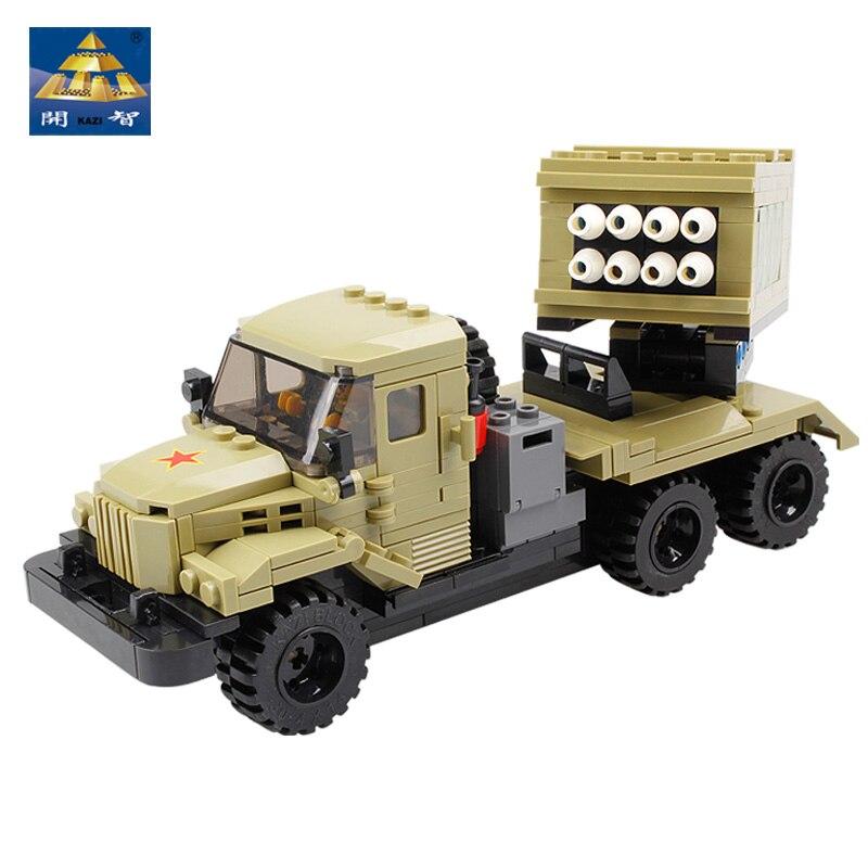 KAZI NEW 98404 Military series Building blocks 365pcs DIY Missile launch car Bricks Model Educational Toys For Children gift