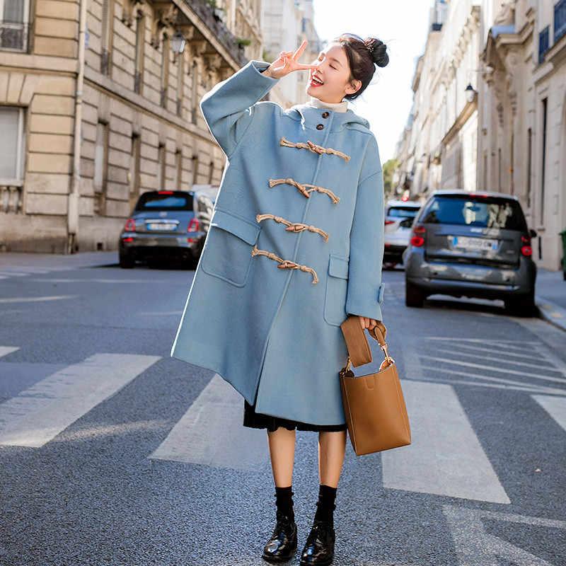 الشتاء ملابس النساء 2018 جديد البرية متوسطة طويلة الإناث الصوف معطف فضفاض مقنعين القرن مشبك عالية الجودة السيدات الصوف معطف cw132