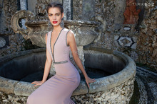 2015 Exquisite good fabric Satin women dress Mermaid V-neck beading nudeback Sleeveless Court strain Formal Evening prom dress