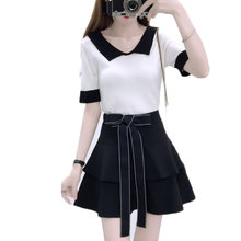 цена на new women knit top & bow belt skirt of tall waist A word two-piece outfit knitwear clothing set vestido girl white black S M L