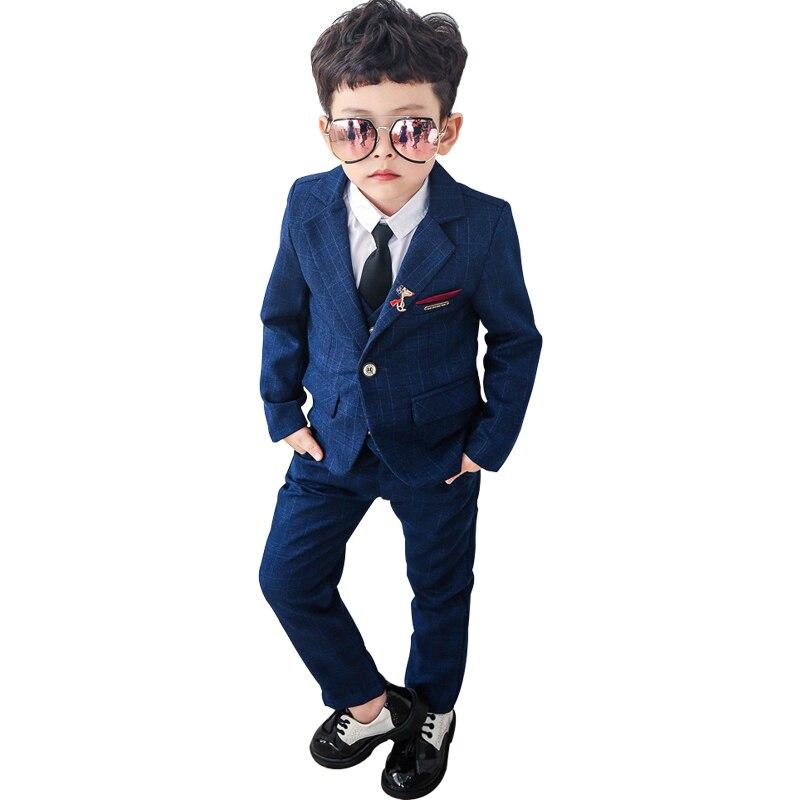 2019 Costume de mariage pour garçons fête enfants costumes formels automne enfants robe costumes Blazer gilet chemises pantalons 4 pièces Costume vêtements