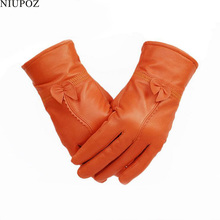 Female Genuine Leather Sheepskin Butterfly Knotl Gloves Real Fur Leather Women Mittens Lady Winter Thick Warm