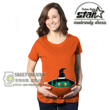 Cotton Pregnant Maternity T Shirts Casual Pregnancy Baby Funny T-shirt Short Sleeve Funny Mommy Shirt With Baby Elf