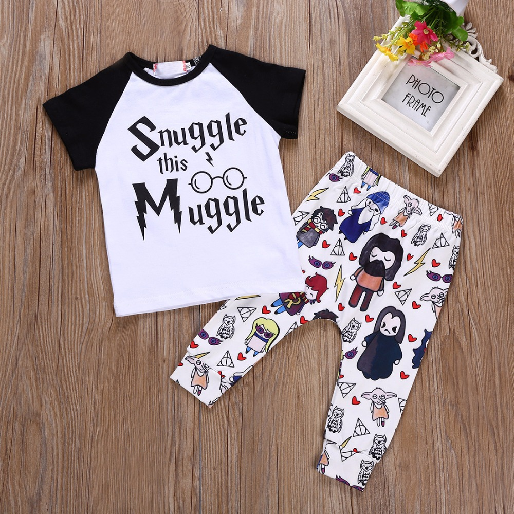 Hat Outfit T-Shirt Clothes-Sets Letter Muggler Baby-Girls Suits Pants 3pcs