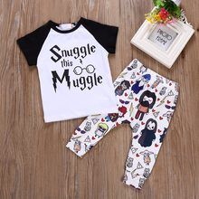 Baby Boy Clothes Sets Letter Letter Muggler T-shirt+Pants+Hat 3pcs suits Harri Potter Baby girls clothing outfit(China)