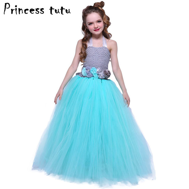 Gray Blue Girls Princess Tutu Dress Long Formal Ball Gown Wedding ...