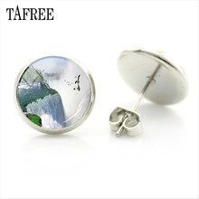 TAFREE Distinctive Niagara Falls Stud Earrings for man women fashion Earrings stainless steel accessories round Jewelry FA297(China)