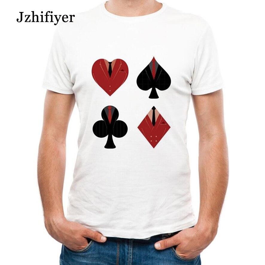 Camiseta homme DY-29 tela-cartão de poker impressão t-shirt tamanho M-3XL  algodão camisetas camisetas masculina efeito de massa DIY Top homens f657cc9790464