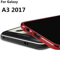 Luxe Ultradunne Case telefoon cover aluminium Bumper Voor Samsung Galaxy A3 2017 A320 A320F 2 Film (1 Front 1 Achter)