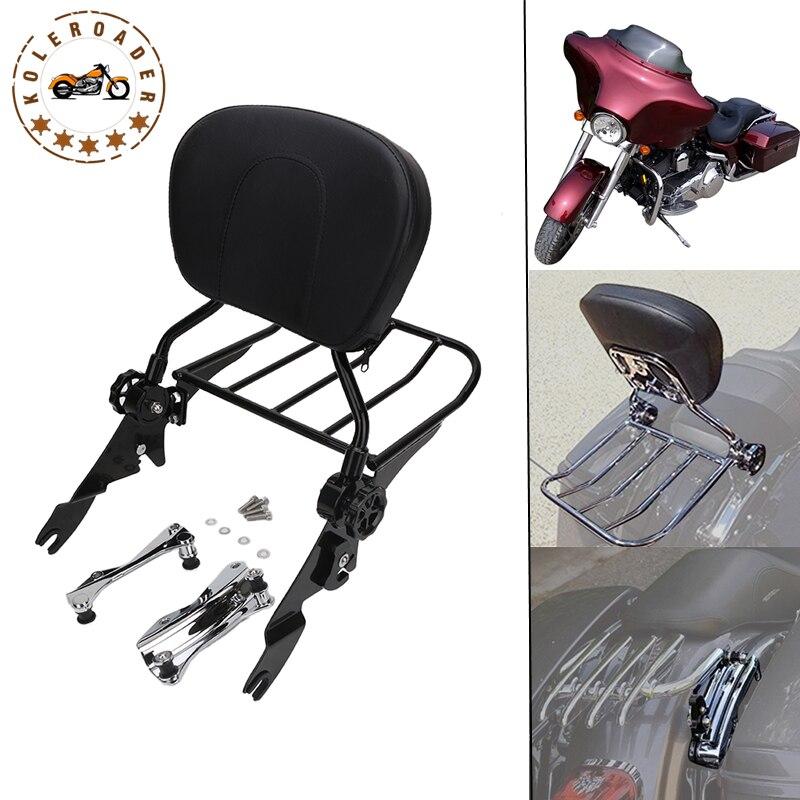 Motorcycle Backrest Sissy Bar Storage Luggage Rack & Docking Hardware Kit For Harley Davidson Touring 2014-2017 MBT012 модуль hpe rack hardware kit h6j85a