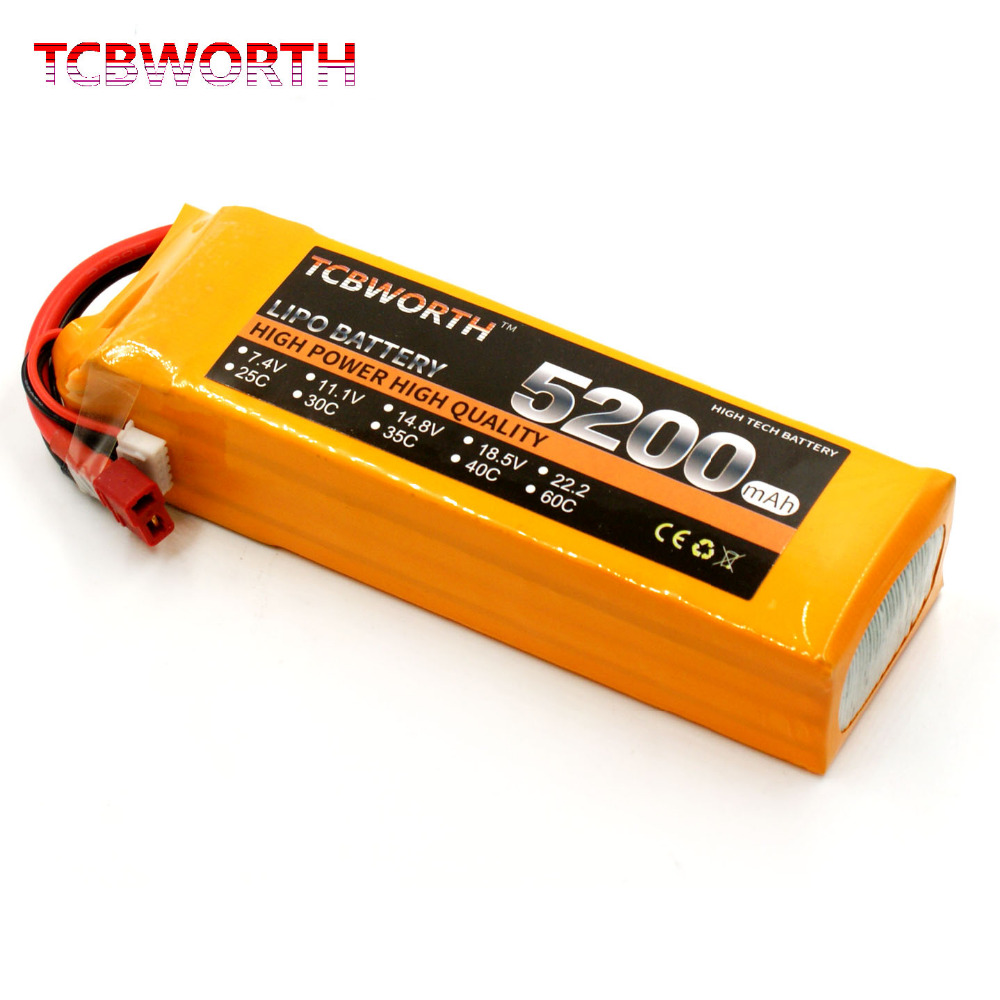 TCBWORTH RC LiPo battery 4S 14.8V 5200mAh 40C-80C For RC Airplane Quadrotor Drone Car Boat AKKU 4s Li-ion batteria tcbworth 6s 22 2v 3000mah 40c 80c rc lipo battery for rc airplane drone quadrotor truck akku li ion battery