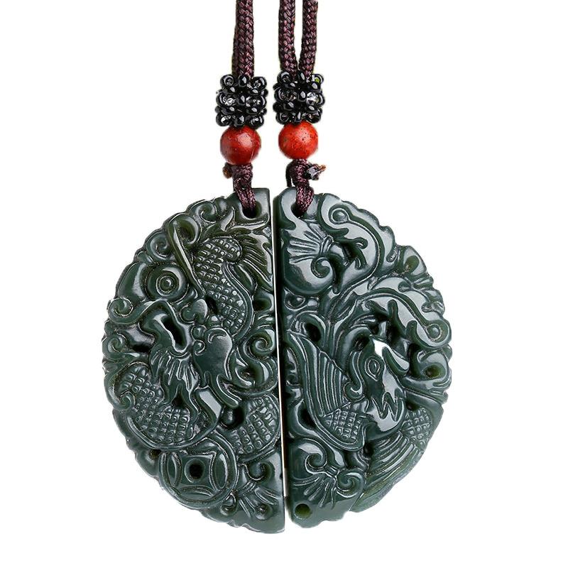 Jewelry & Accessories Lovers Natural Hetian Qingyu Longfeng Semicircle Dragon Male Phoenix Female Yu Pei Pendant